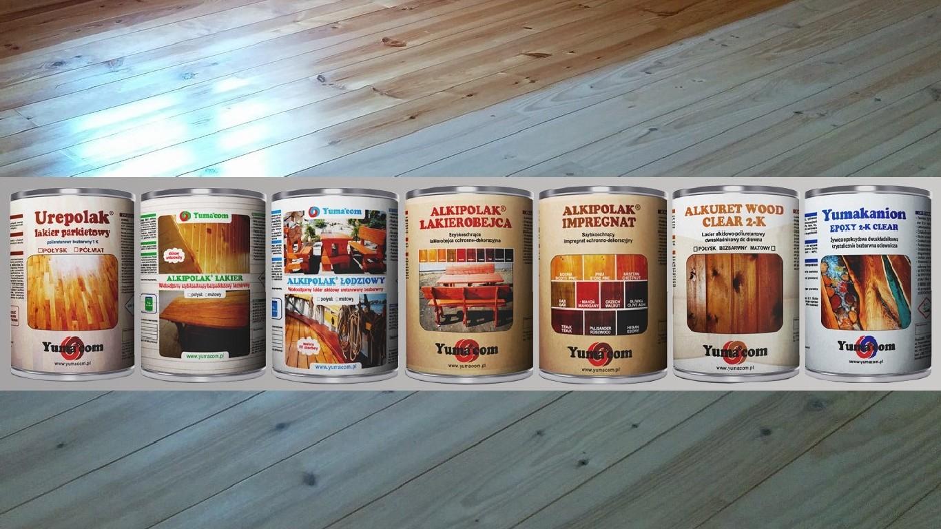 System na drewno - farby i lakiery na drewno na tle parkietu